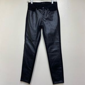 Sisley Black Skinny Jeans, w/ Faux Leather Front